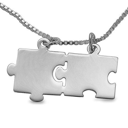 2 Partner Freundschafts Anhänger Puzzle Teile inkl. Gravur und 2 Ketten 925 Sterlingsilber Gravuranhänger #1567