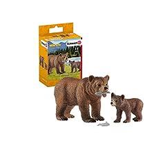 Schleich-Figurine Maman Grizzly avec Ourson Wild Life, 42473, Multicolore