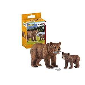 Schleich- Set de Figuras Grizzly con su cría, Colección Wild Life, 1 Osa + 1 Osezno + 2 Peces (42473)