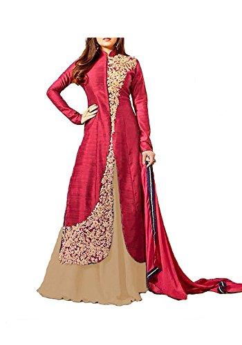 Royal Export Women\'s Bangalori Silk Embroidered Semi-stitched Anarkali Suit (bangalor red__beige_Free Size)