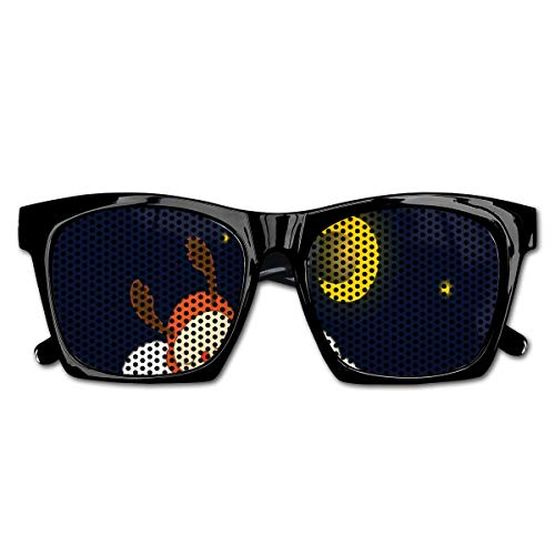 EELKKO Mesh Sunglasses Sports Polarized, Reindeer Sleeping with Stars and Crescent Moon On Blue Shade Backdrop,Fun Props Party Favors Gift Unisex