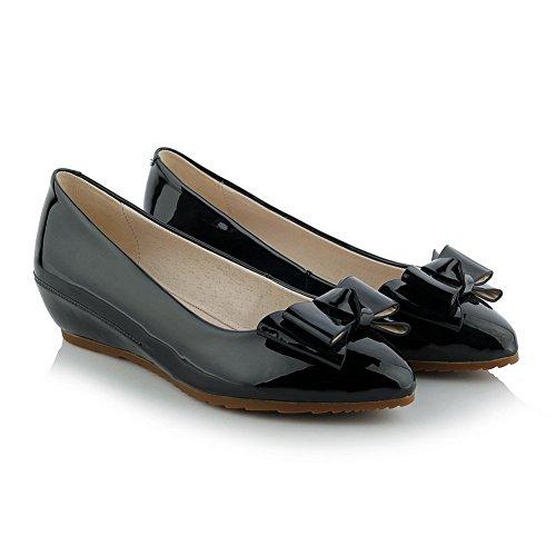 Adee Mädchen Schleifen griffigen unten Einschubtasche Patent Leder Pumpen Schuhe Schwarz