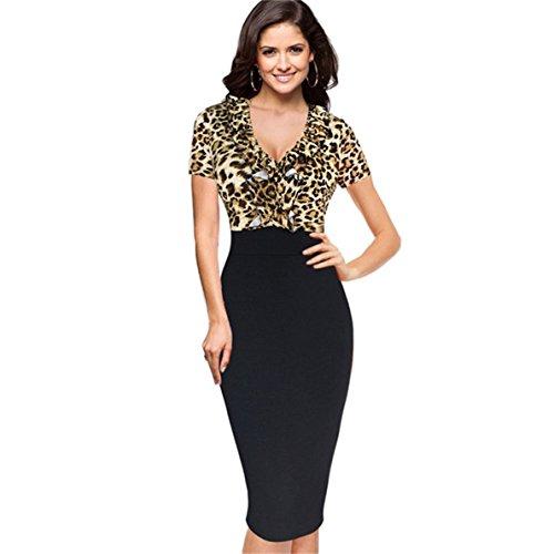 KingField Damen Etui Kleid Gr. L, Leopard/Black