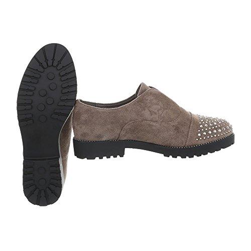 Scarpe da donna Mocassini tacco a blocco Slipper Ital-Design grigio beige 22-2