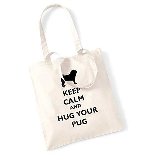 Keep calm and hug il carlino tote bag natur