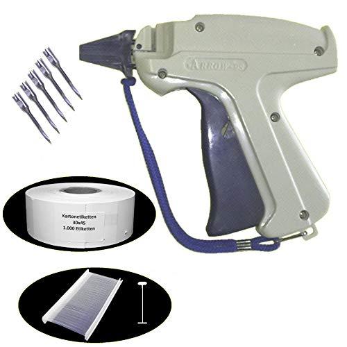 SET Heftpistole - Etikettierpistole ARROW 9S + 5 Ersatznadeln + 1.000 Heftfäden Standard 40mm + 1.000 Kartonetiketten Etiketten 30x45 mm