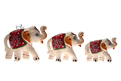Dreamkraft Set Of 3 White Elephant Showpiece For Home Dã©Cor And Gift Purpose