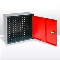 ADB Werkstattschrank   Schlüsselschrank   Hängeschrank mit Lochblech 1trg. für Werkstatt anthrazit / rot