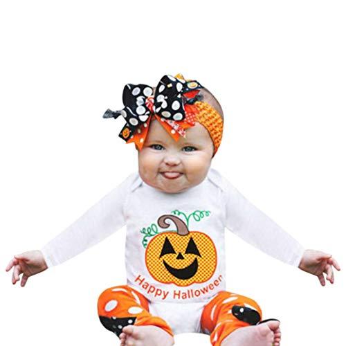 Rosennie Langram T-Shirt Infant Kleinkind Baby Mädchen Jungen Kürbis Strampler Party Halloween Kleidung Overall Baby Bekleidungsset Kinderkleidung Set Kleinkind Halloween Karneval Kostüm(Weiß)