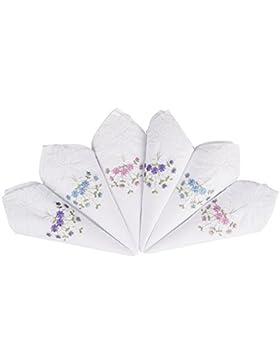 Pañuelo Floral de Algodón Bordado de Encaje para Mujer