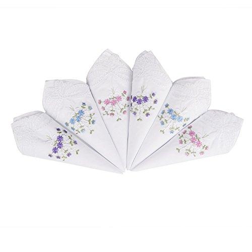 Damen Weiße Baumwolle Taschentücher (6 Stücke Damen Stoff Taschentücher 100% Baumwolle mit Blumen Stickereien und Spitze Schmetterling Kante)