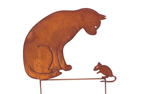 Blümelhuber Gartenstecker Katze + Maus 50cm höhe Metall Rost Gartendeko Edelrost