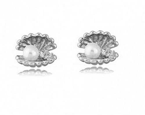 Summens-Damen-Zircon-Muschel-Perle-Silberfarben-Ohrringe-Ohrstecker