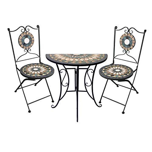 Wohaga 3tlg. Sitzgarnitur Mosaiktisch halbrund 70x35cm + 2 Mosaikstühle Gartenstuhl Klappstuhl Balkon Terrasse Gartengarnitur