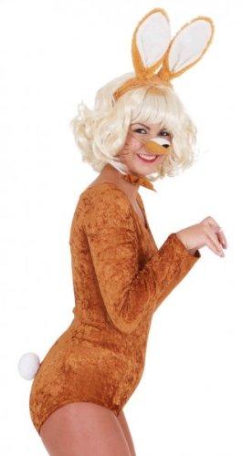 Hasen-Kostüm: Set mit Nase, Schleife, Schwanz und Haarreif mit Ohren, braun
