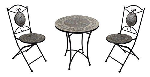 Mosaik Bistro Stuhl (Mosaik Gartenmöbel Set - 1 Tisch und 2 Stühle braun)