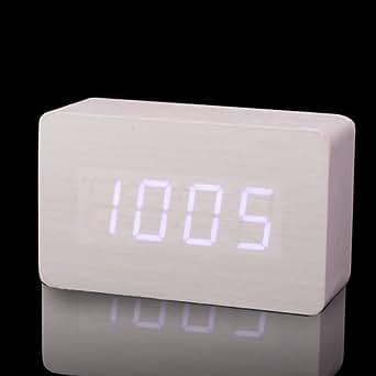 LED blanche bois bois Alarme Horloge numérique DC entrée / USB / batterie + Température