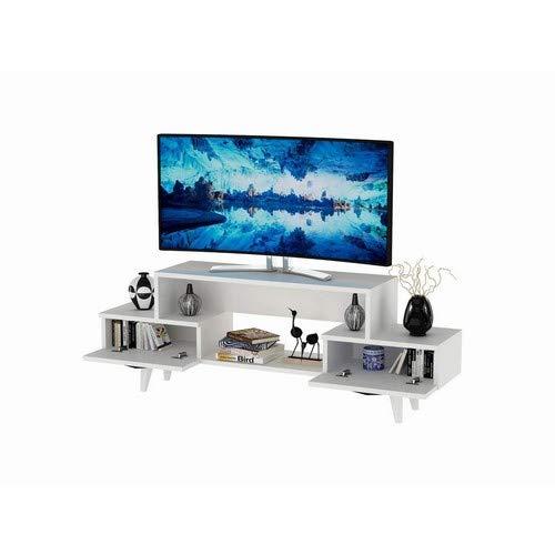 Minar by Home Mania Meuble TV Design Alba - L. 140 x H. 50 cm - Blanc
