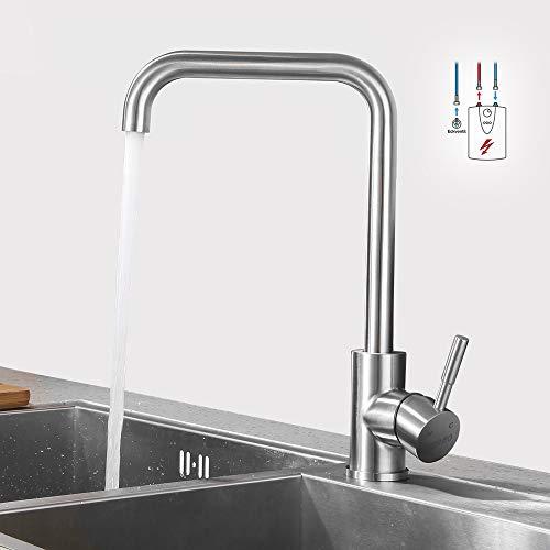 Lonheo Edelstahl Niederdruck Küche Wasserhahn mit 360° schwenkbare| hoher Auslauf Niederdruckarmatur für offene Boiler| Küchenarmatur Spültischarmatur Einhebelmischer Mischbatterie Armatur für Küche