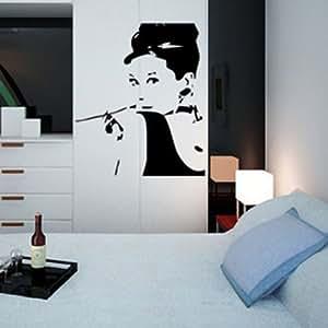 wandaufkleber wandtattoo wandsticker wallsticker stars audrey hepburn ws032 k che. Black Bedroom Furniture Sets. Home Design Ideas