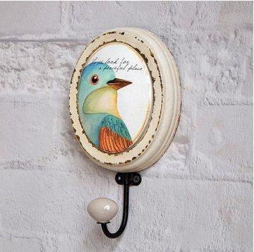 Crochet Mural Vintage Design Decoratif Porte Clés Original oiseau peinte à la main art