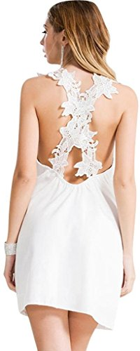 Jeansian Femmes Fashion Robe Summer Sexy Gilet Slim Fit Womens Casual Chiffon Beach Dress Party Dresses WHS103 white