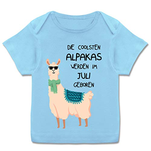 Geburtstag Baby - Die coolsten Alpakas Werden im Juli geboren Sonnenbrille - 68-74 (9 Monate) - Babyblau - E110B - Kurzarm Baby-Shirt für Jungen und Mädchen