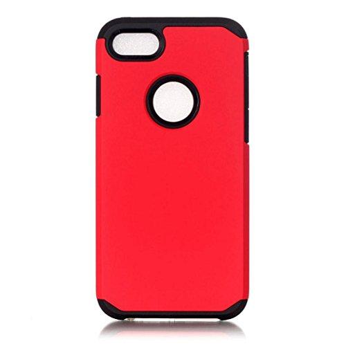 Koly De alta calidad PC + TPU caso de la cubierta de piel para el iPhone 7 Plus de 5.5 pulgadas,rojo
