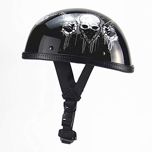 JohnnyLuLu Retro Open Face Motorrad Crash Half Helm, Chopper Bobber Cruiser Skull Cap mit Vintage Harley Helmen, integrierte DOT-Zertifizierung,B -