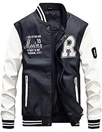 f8e4c0bc13b4 Vogstyle Hommes Vest Casuel Cuir PU Teddy Baseball Blouson avec Doublure  Jackets