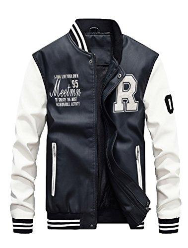 Vogstyle Hommes Vest Casuel Cuir PU Teddy Baseball Blouson avec Doublure Jackets Blanc L