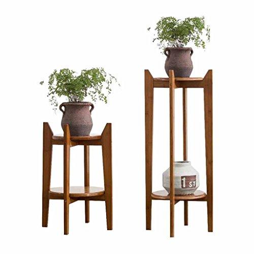 Soporte De Flores Para Interiores, De Madera Soporte De Flores De 2 Niveles Soporte Para Macetas Estante Soporte De Exhibición De Soporte De Bambú, Para Patio Exterior Balcón Estante Decorativo