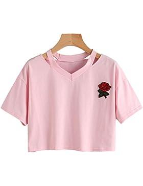 Mengonee Tops de Mujer Camiseta Manga Corta con Estampado de Rosas Estudiantes de Cuello EN v Suaves Camisetas...