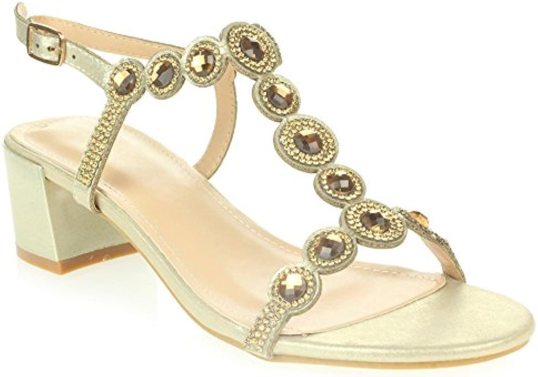 AARZ LONDON Frau Damen Kristall Diamant Abend Hochzeit Party Abschlussball Braut Blockabsatz Sandalen Schuhe Größe