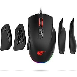 havit RGB Gaming Maus 【10000DPI und 14 programmierbare Tasten】, Vier austauschbare Seitenteile für MOBA/MMO…