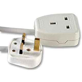 rhinocables® Single Socket 13amp Power Cable 1 Gang Mains Extension Lead (15m, White)