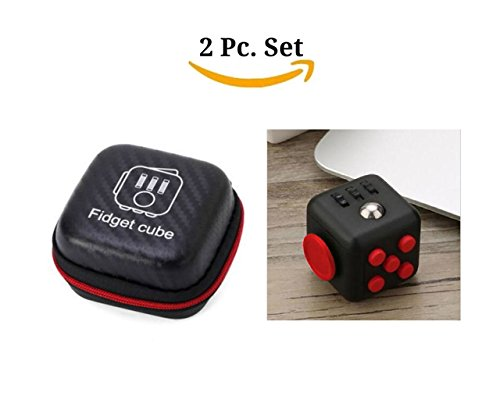 Fidget Cube With Case Desk Toy Set Clicker Joystick Buttons For Stress Anxiety Focus ADHD Autism Adults Kids Students Office Gift Pack (11#Black Red)
