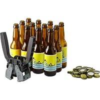 Saveur Bière - Kit d'embouteillage Complet - Kit composé de 12 Bouteilles de 33cl, de 12 étiquettes Personnalisables, de 100 Capsules et d'une capsuleuse (avec Adaptateur 26 et 29mm)