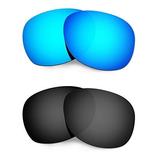 HKUCO Mens Replacement Lenses For Ray-Ban Wayfarer RB2132 55mm Sunglasses Blue/Black Polarized