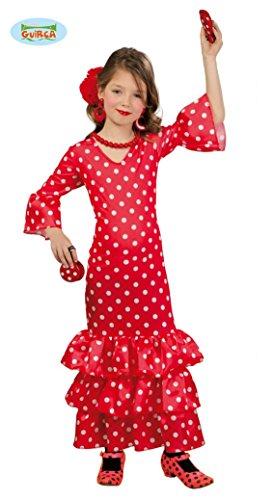 Kostüm Flamenco Tänzerin - Guirca spanische Flamenco Tänzerin Kostüm für Mädchen Gr. 98-146, Größe:128/134