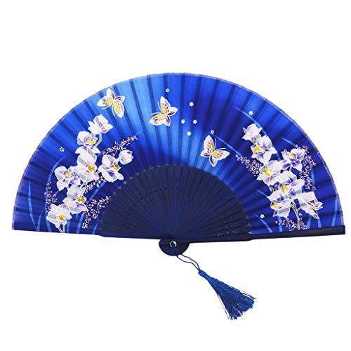 ische Antike Faltfächer Bamboo Dance Faltfächer Weiblicher Fan Gedenkgeschenk Fan Dekoration (Color : Blue) ()