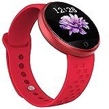 Reloj Inteligente para Mujer Dicomi Frecuencia cardíaca Pantalla en Color Período Recordar Moda Pulsera Inteligente, Reloj Despertador, Podómetro (Rojo)