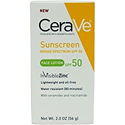Cerave SPF 50 Sunscreen Face Lotion, 2 Ounce (Pack of 2)