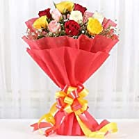 Floral Fantasy Fresh Flowers Bouquet Arrangement - 12 Mix Rose In Red Paper Packing