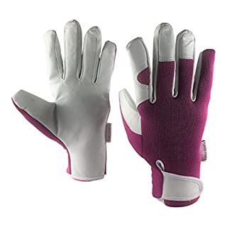 Ladies Leather Gardening Gloves - Slim Fit Work Gloves for Women - Perfect for Garden and Household Tasks - Best Gardening Gift for Women. Buy on Sale NOW! (Small, Purple)