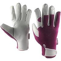 Damen Gartenhandschuhe aus Leder–schmale Passform, Arbeitshandschuhe für Frauen–Ideal für Garten und Haushalt–tolles Garten-Geschenk für Frauen. -, violett