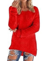 Suéteres de Manga Larga Irregular del Dobladillo Tops Jersey de Punto Mujer Sueter Tejido Camisa Cuello Redondo Blusa Otoño Invierno Color Sólido Pullover Oversize Largo Sweaters Baggy Jumper Shirt