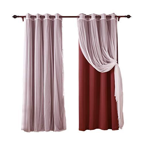Deconovo tende a doppio oscuranti termiche isoalnti tende trasparenti in voile per soggiorno con occhielli 4 pannelli 140x240cm rosso e bianco