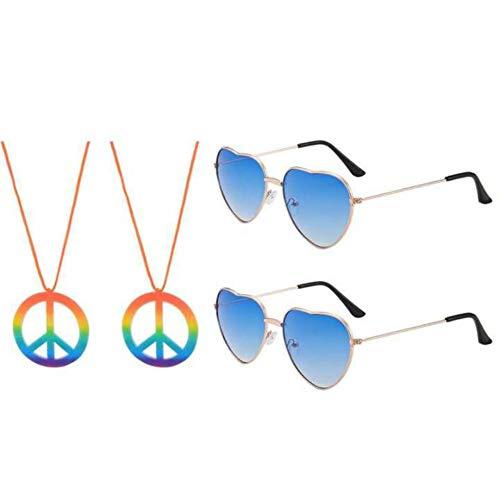 JBINNG 2 Stück Sonnenbrille und 2 Stück Friedenszeichen Halskette für Hippie Kostümzubehör Hippie Specs Brille in Herzform (Blau)