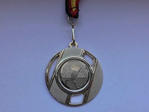 10 x Medaillen - aus Metall 50mm - mit Einem Alu Emblem - Badminton - Federball - inkl. Medaillen Band - Farbe: Gold - Emblem 25mm -